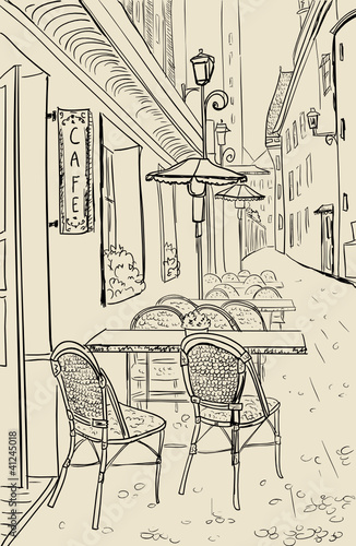 Door stickers Drawn Street cafe Street cafe in old town sketch illustration