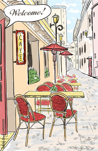 Deurstickers Drawn Street cafe Street cafe in old town sketch illustration