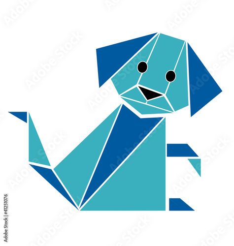 Poster Geometric animals Dog origami style silhouette vector
