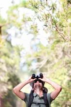 Binoculars - Man Hiker Looking...