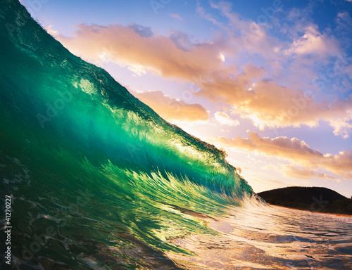 Autocollant pour porte Eau Sunset Wave