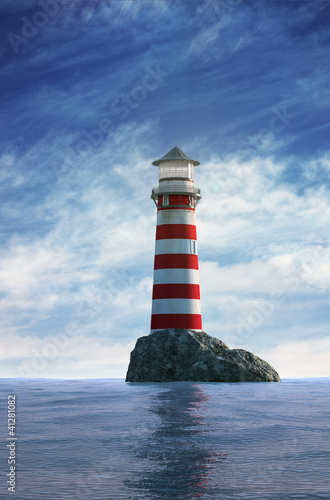 Foto Rollo Basic - Day view of a red and white lighthouse