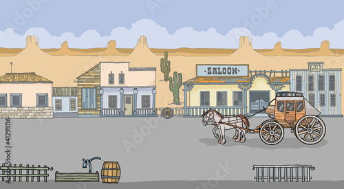 Aluminium Prints Wild West Western Town view with Stage-coach and Houses.