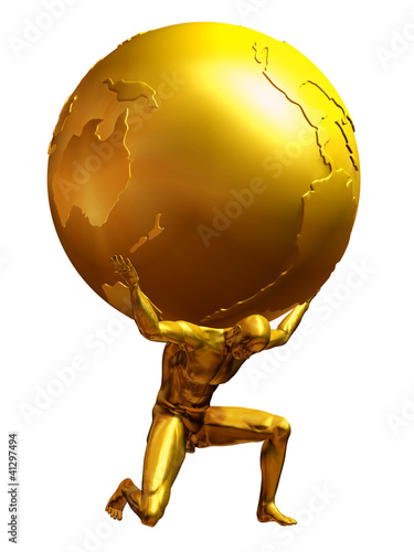 Fotografía  Atlas in pure gold, a man carries the world on shoulders