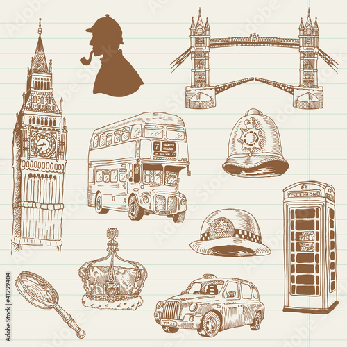 Foto op Plexiglas Doodle Set of London doodles - for design and scrapbook - hand drawn in
