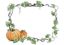 Illustration Of Abstract Pumpkins And Leaves In Frame