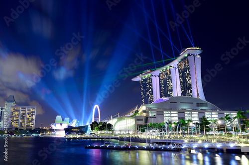 Tuinposter Singapore Singapore by night