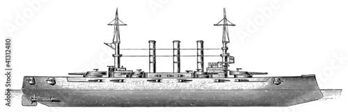 Photo  US Connecticut-class battleship USS Kansas (BB-21), 1905