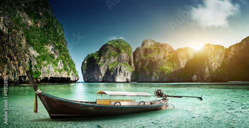 boat on sand of Maya bay Phi phi island Canvas Print