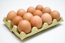 A Dozen Of Eggs On White Black...