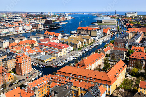 Photo  Aerial View on Roofs and Canals of Copenhagen, Denmark