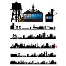 City And Old Factory Silhouette Set
