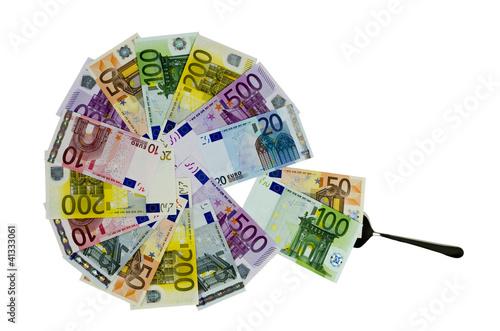 Photo Geldscheine als Kreisdiagramm mit Kuchenheber