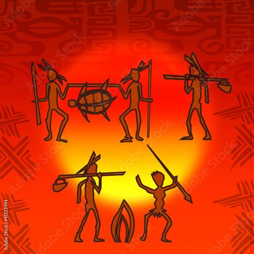 silhouette personnage tribu tribal chasseur primitif hutte Canvas Print