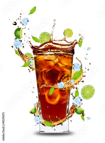 Garden Poster Splashing water Fresh cola drink with limes. Isolated on white background