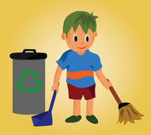 Vector - A Cleaning Boy.A Boy And Recycle Bin.