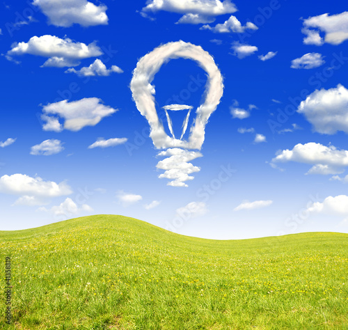Foto op Plexiglas Donkerblauw Spring landscape with bulb from clouds