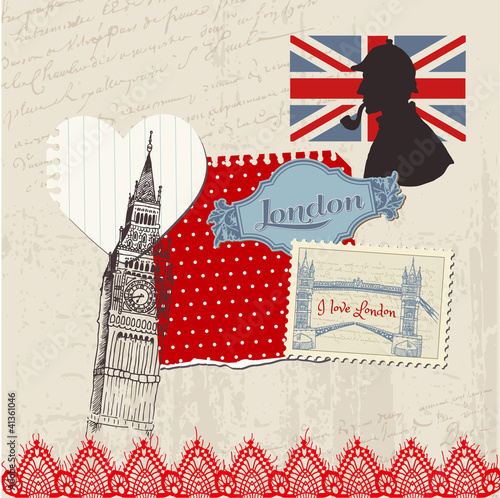 Poster Doodle Scrapbook Design Elements - London Vintage Set - in vector