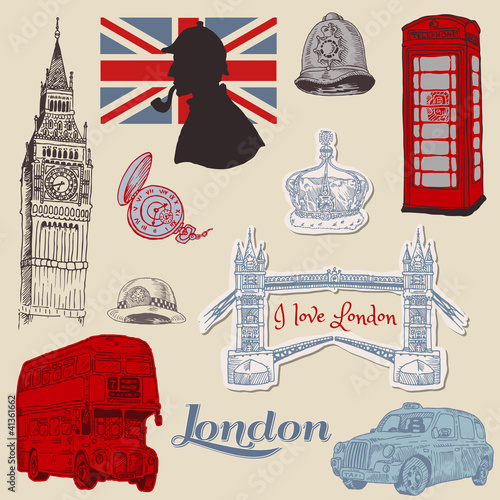 Foto auf Leinwand Doodle Set of London doodles - for design and scrapbook - hand drawn in