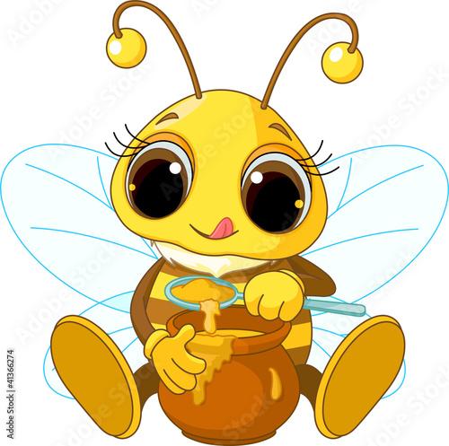 Printed kitchen splashbacks Fairytale World Cute Bee eating honey