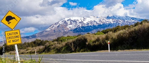 Staande foto Nieuw Zeeland Kiwi Crossing road sign and volcano Ruapehu, NZ