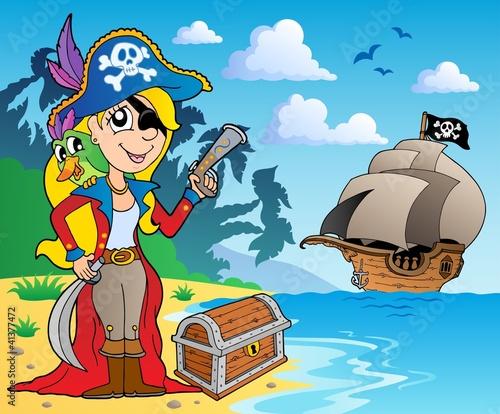 Foto op Canvas Piraten Pirate girl on coast 2