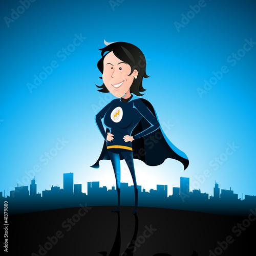 Poster Superheroes Cartoon Blue Super Lady