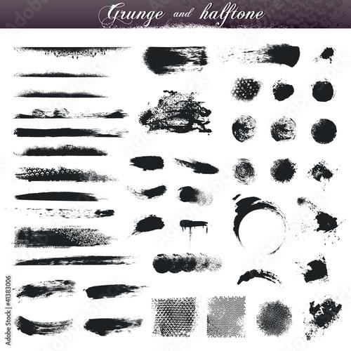 Fotografie, Obraz  Set of various grunge and halftone design elements
