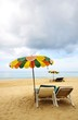 beach chairs and colorful umbrella on the beach, Phuket Thailan
