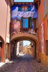 Panel Szklany Uliczki Alleyway. Dozza. Emilia-Romagna. Italy.