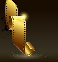 Camera Film Roll Gold Color, V...