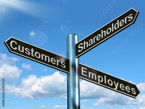 Fotografía  Customers Employees Shareholders Signpost Showing Company Organi