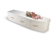 Cardboard Bio-degradable Eco Coffin Isolated On White With Clipp