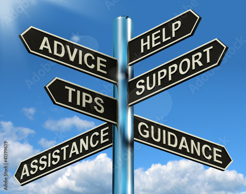 Advice Help Support And Tips Signpost Showing Information And Gu Wallpaper Mural