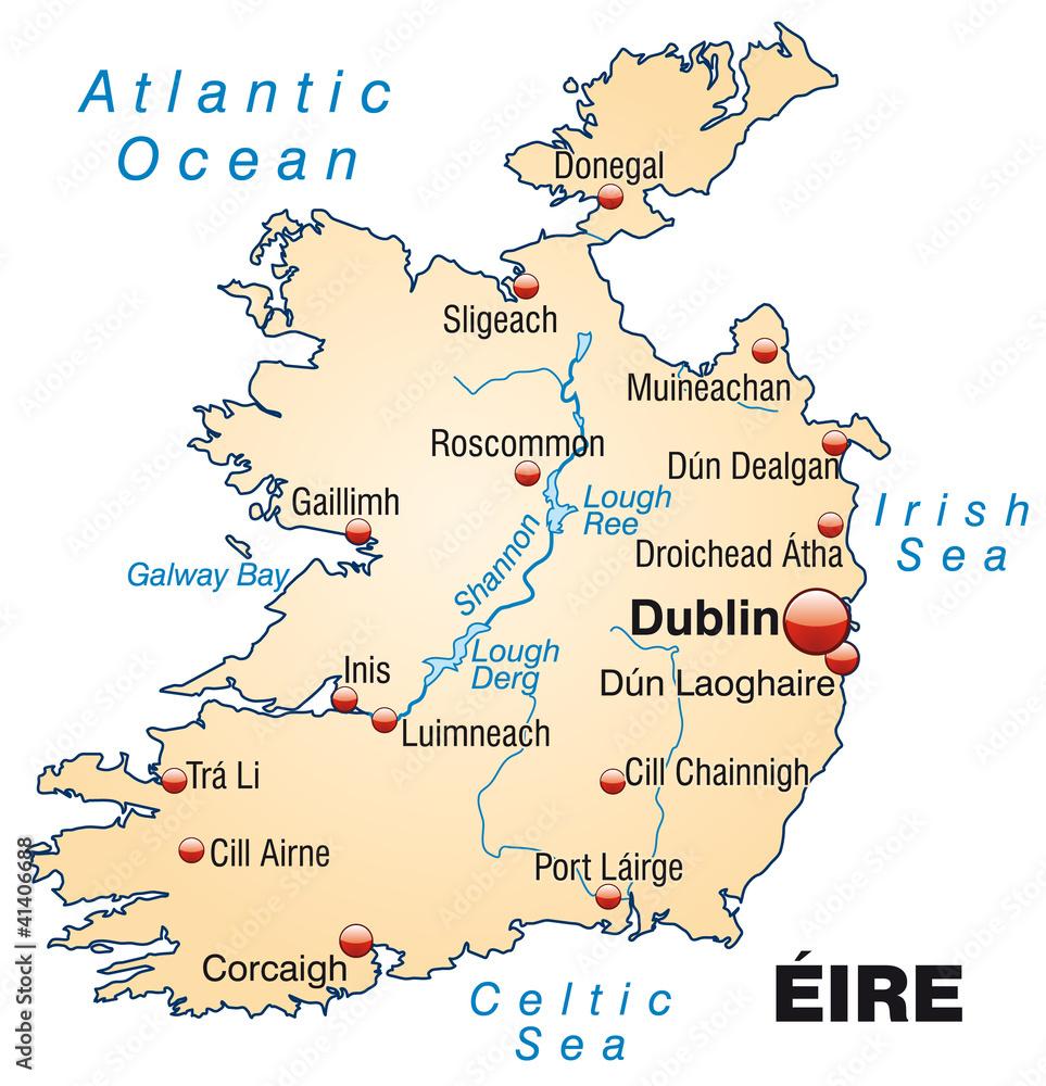Irland Karte.Karte Von Irland Mit Gewassernetz Und Hauptstadten Foto