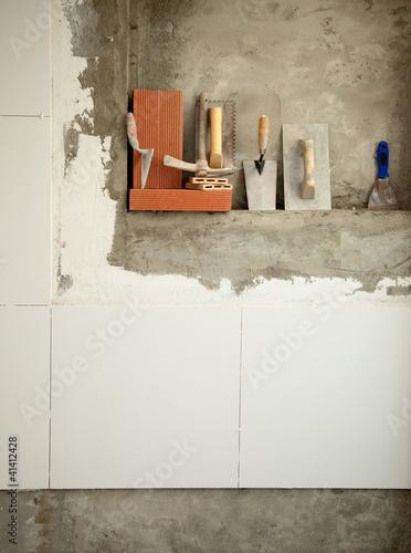 Photo  Construction mason cement mortar tools