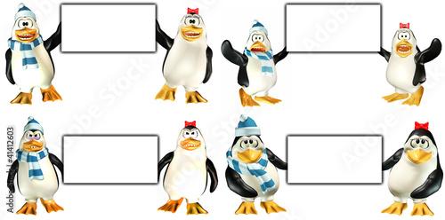 Fotografie, Tablou  Penguins holding a sign Pack