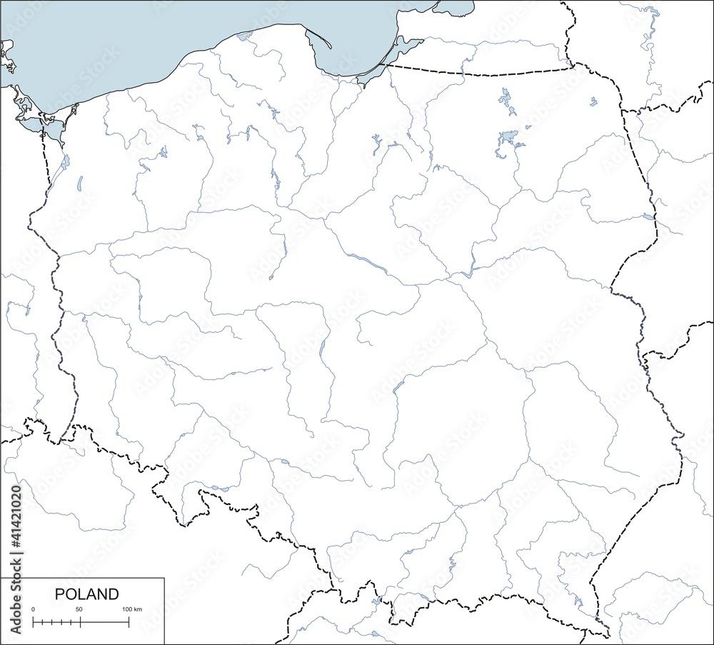 Obraz Pcv Mapa Kontur Polski Z Rzek I Jezior Wally24 Pl