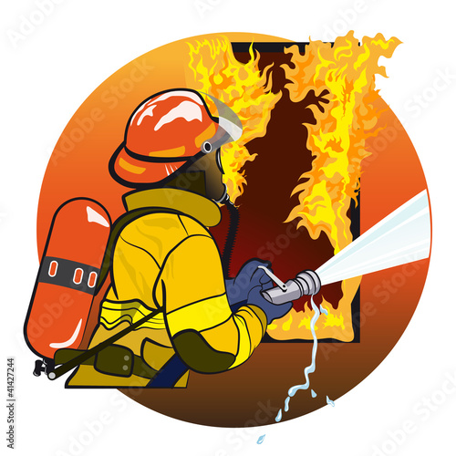 Photo Stands Superheroes Firefighter