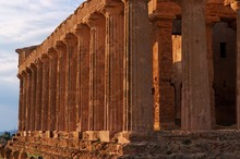 Colonnade Of Ancient Concordia Temple In Agrigento,  Italy