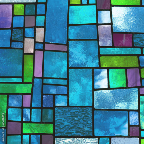 Fototapeta Multicolored stained blue glass window, square format