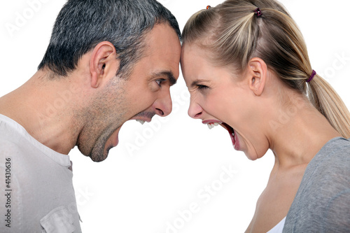 angry couple Canvas Print