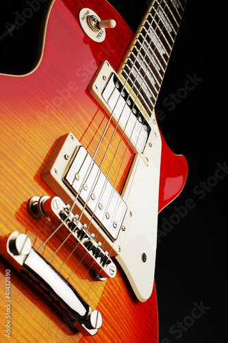 Poster Red, black, white Elektro Gitarre