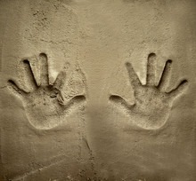 Both Hands Print On Cement Mortar Wall