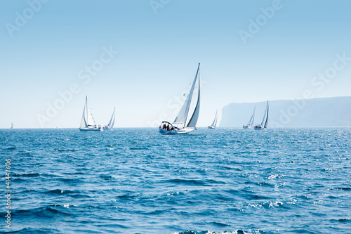Fotografie, Obraz  boats sail regatta with sailboats in mediterranean
