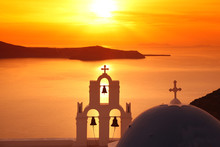 Santorini With Traditional Church In Fira, Greece