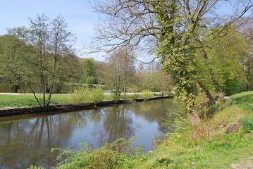 Fototapeta na wymiar Parco con fiume