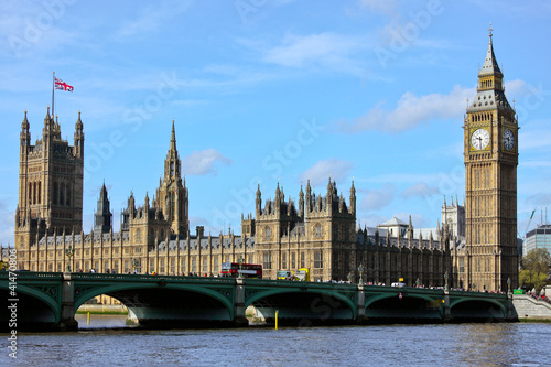 In de dag Londen London Westminster with Big Ben and Themse River