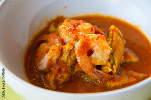 Hot and sour curry with tamarind sauce, shrimp and vegetables Canvas Print