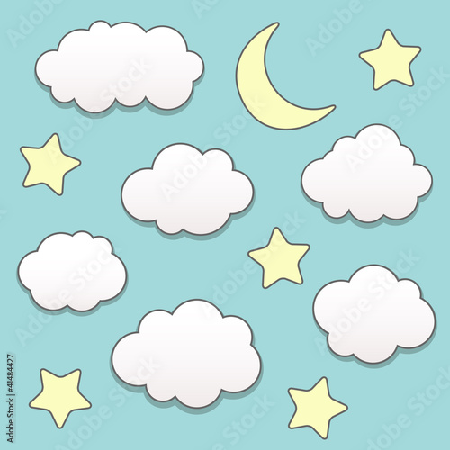Poster Ciel Starry night with moon and clouds